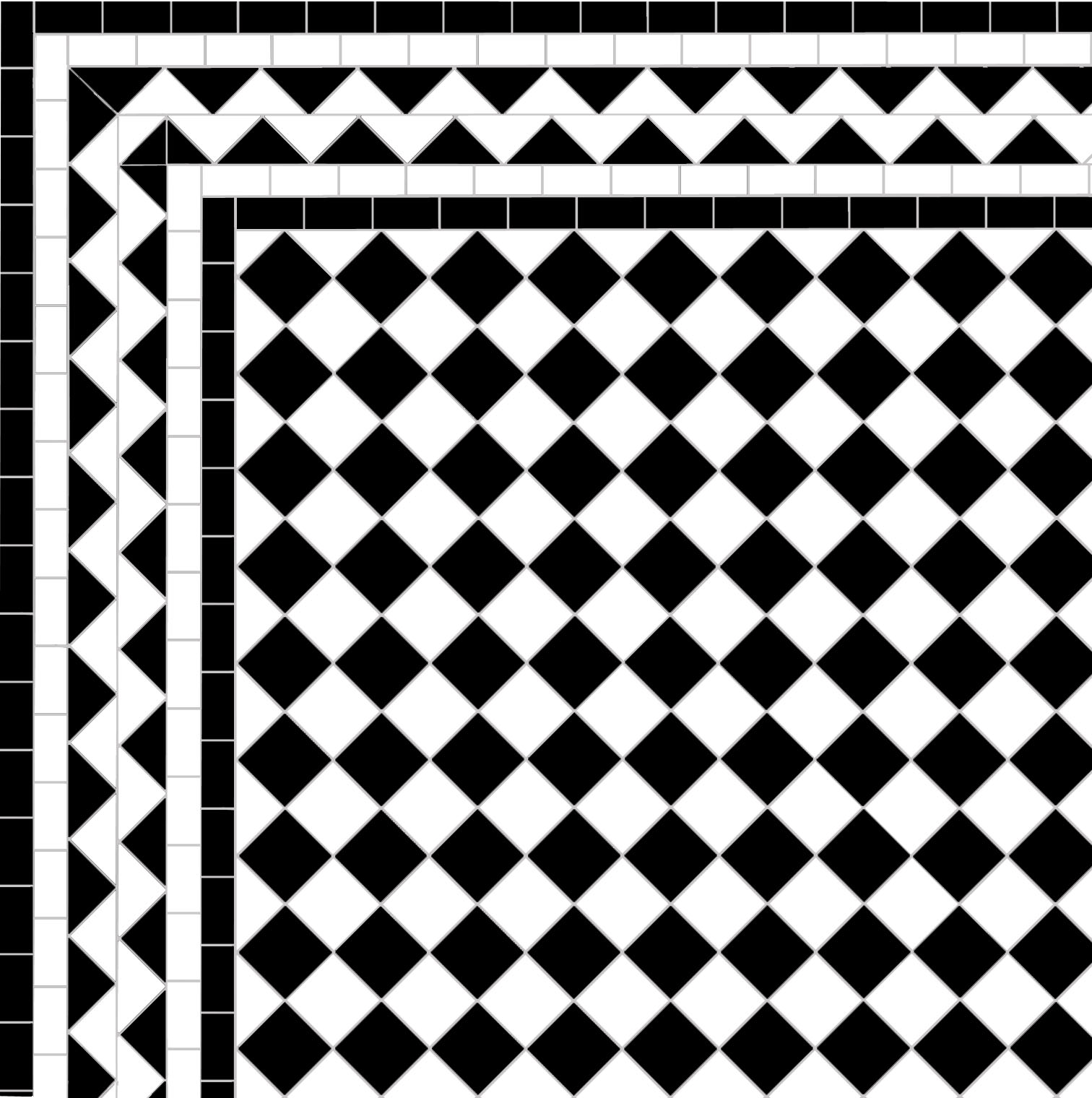 Chequer - White ZigZag Border 4 Lines