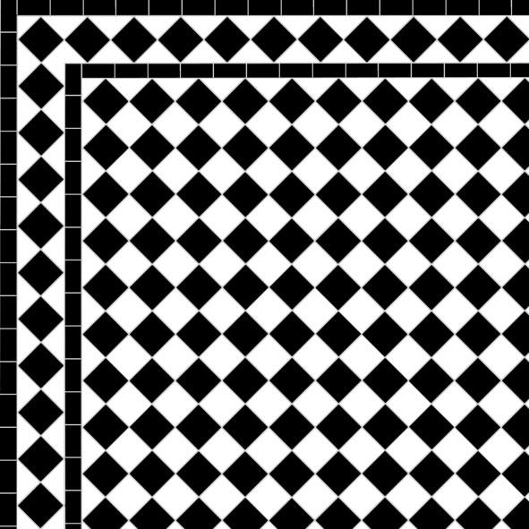 Chequer - Diamond Border - Black