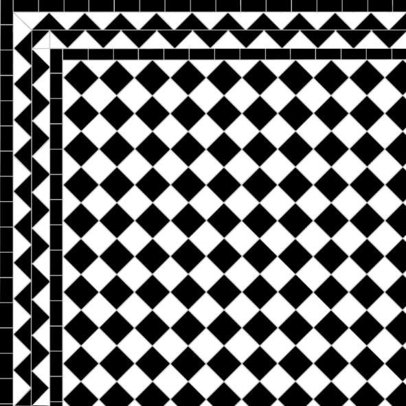 Chequer - Black ZigZag Border 2 Lines