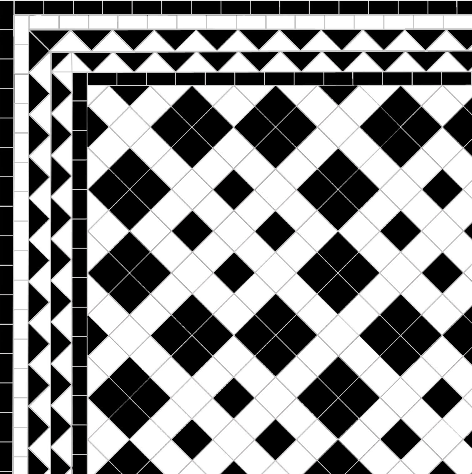 black and white victorian mosaic floor tiles
