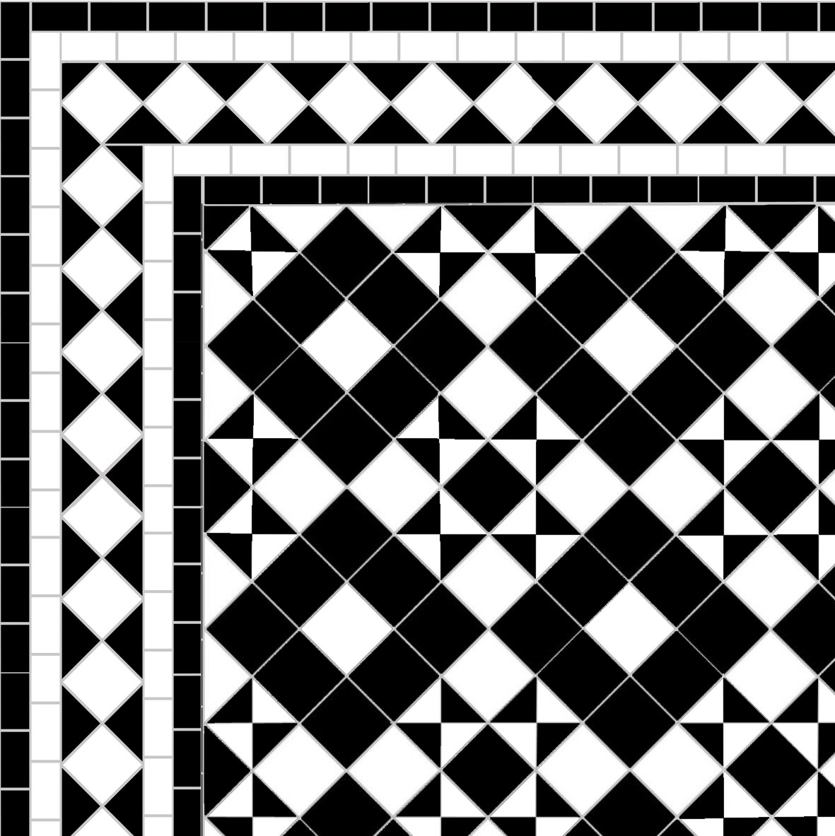 Dark Box & Star - Diamond Border - white