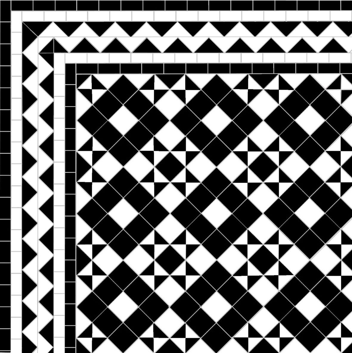 Dark Box & Star - Zig zag Border - white