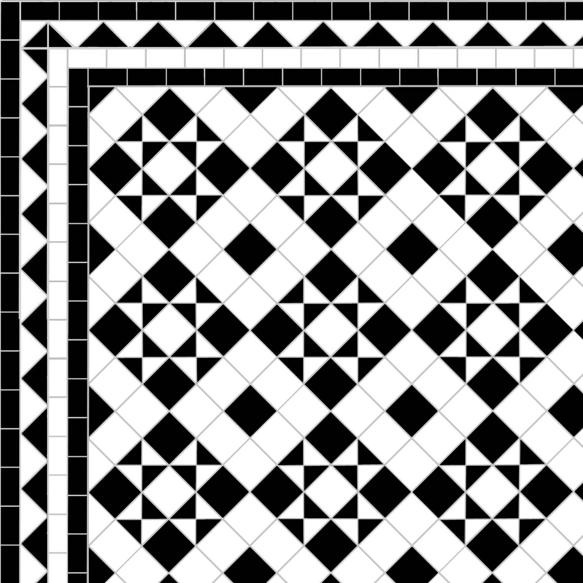 Box & Star - Dog's Tooth Border