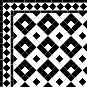 Alternating Box - Diamond Border-Black