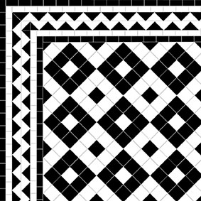 Alternating Box - ZigZag Border - White