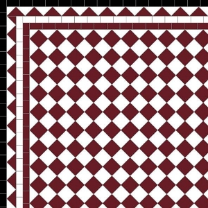 Chequer - £140 3 Line Dog Tooth Border - £62/Lin.m  Red, White & Black