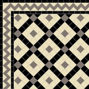 Banded Boxes-£155 2 Line Zig-Zag Border-£78/Lin.m  Black, Grey & Ivory