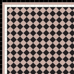 Chequer - £140 3 Line Border - £40/Linear m.  Black, Old Pink & White