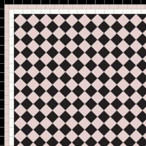 Chequer - £140 3 Line Border - £40/Linear m.  Black, Rose & White