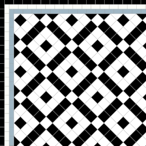 Banded Boxes-£140 Three Line Border - £40/Lin. m.  Black, White & Blue