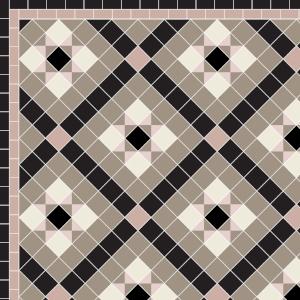 Castle Gayer - £230 2 Line Border - £30/Linear m.  Black, Old White, Rose & Old Pink