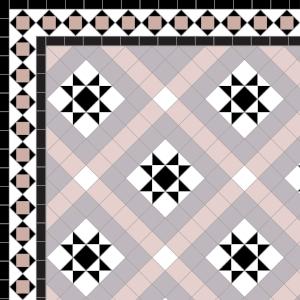 Castle Gayer - £230 2 Line Alma Border - £104/Lin. m.  Black, White, Rose, Parme & Old Pink