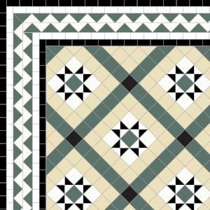 Castle Gayer - £230 4 Line ZigZag Bord-£98/Lin.m.  Black, White, Dark Green, & Ivory