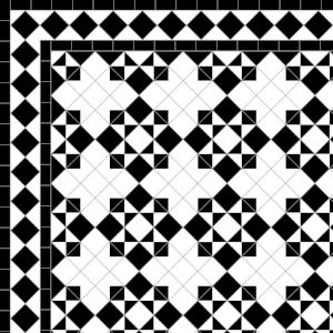 Star & Cross-£215  2 Line Diamond Bord.- 42/Lin.m.  Black & White