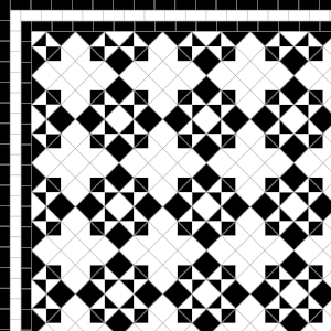 Star & Cross - £215  3 Line Border - 36/Linear m.  Black & White