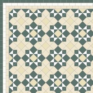 Star & Cross - £235  3 Line Border - 36/Linear m.  Dark Green, White, Ivory & Ontario