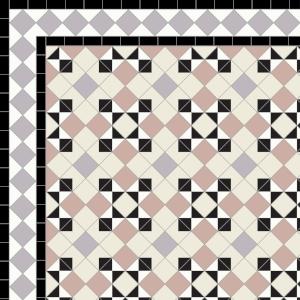 Star & Cross-£235  2 Line Diamond Bord.- 42/Lin.m.  Black,White, Parme, Old Pink & Old White