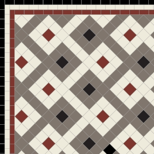 Castell - £140 Three Line Border - £40/Linear m.  Red, Grey, Old White & Black