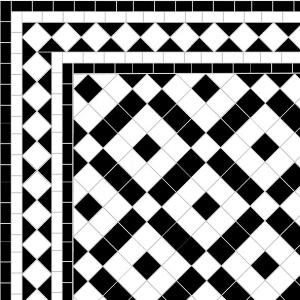 Banded Boxes - Diamond Border - White