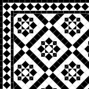 Thornton-£270 2 Line Diamond Border - £49/Lin. m.  Black & White
