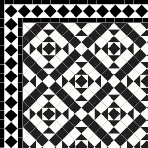 Clarendon-£235 2 Line Diamond Border - £49/Lin. m.  Black & White
