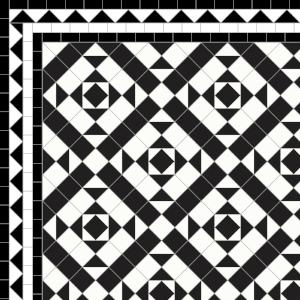 Clarendon-£235 3 Line Dogtooth Border - £58/Lin. m.  Black & White
