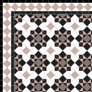 Star & Cross-£285 2 Line Diamond Bord. £52/Lin. m.  Black, White, Old Pink & Grey