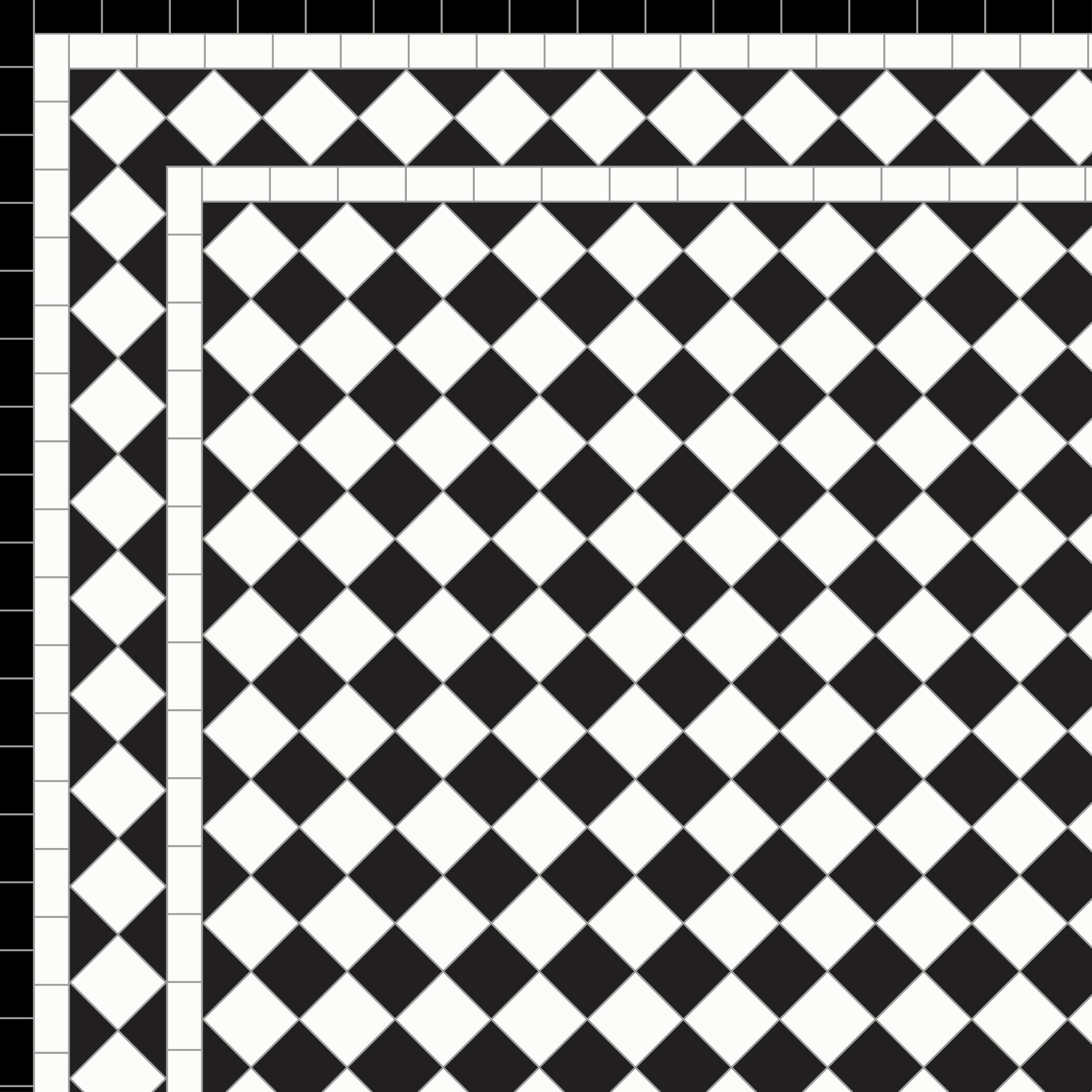 Chequer - White Diamond Border 3 Lines