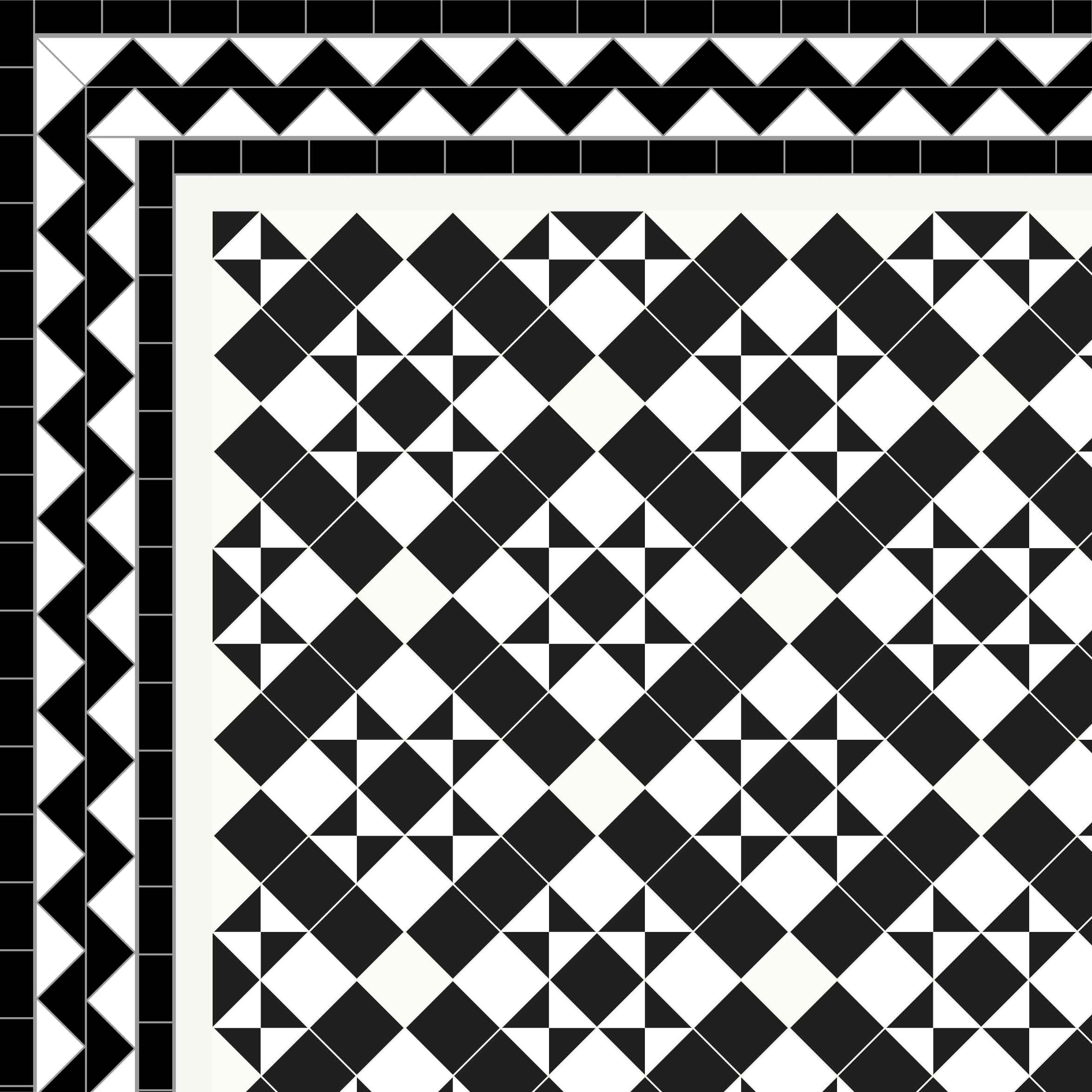 Newlyn - £260/m2 Black ZigZag Border 2 Lines - £72/Linear m.