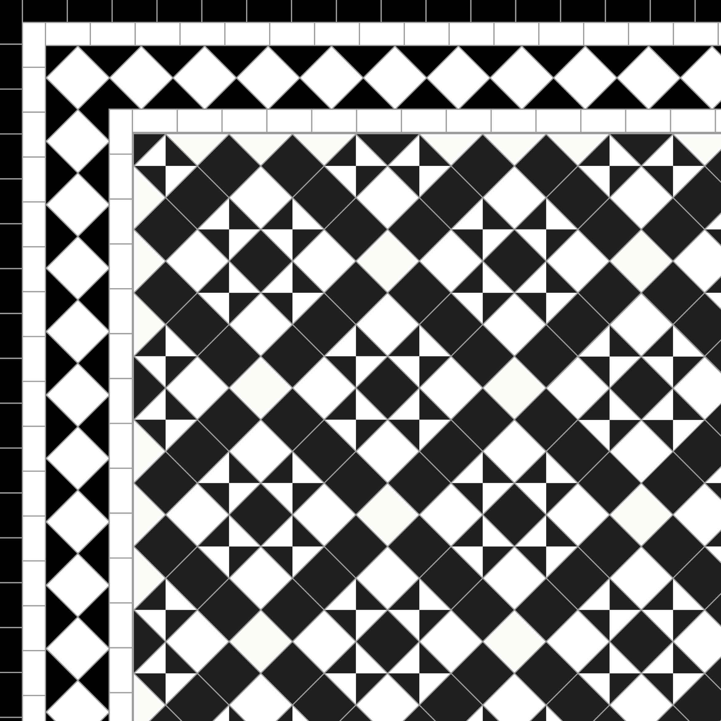 Newlyn - £260/m2 White Diamond Border 3 Lines - £62/Linear m.