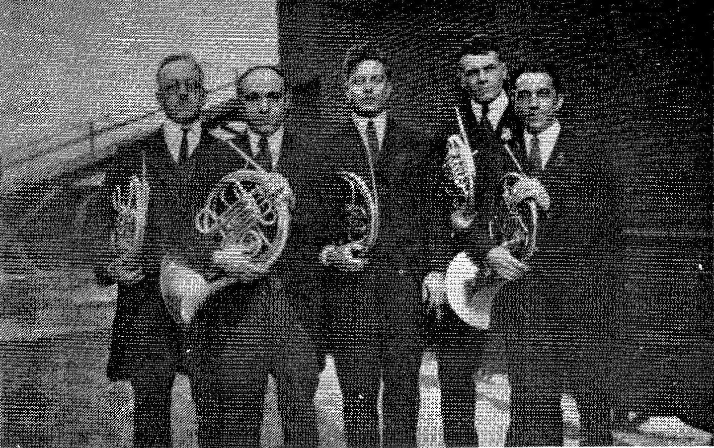 Cleveland Orchestra Horns, 1921-22 L. to R. Alphonse J. Pelletier, Emilio Stango, Robert H. Brown, Wendell Hoss, Frank de Polis.