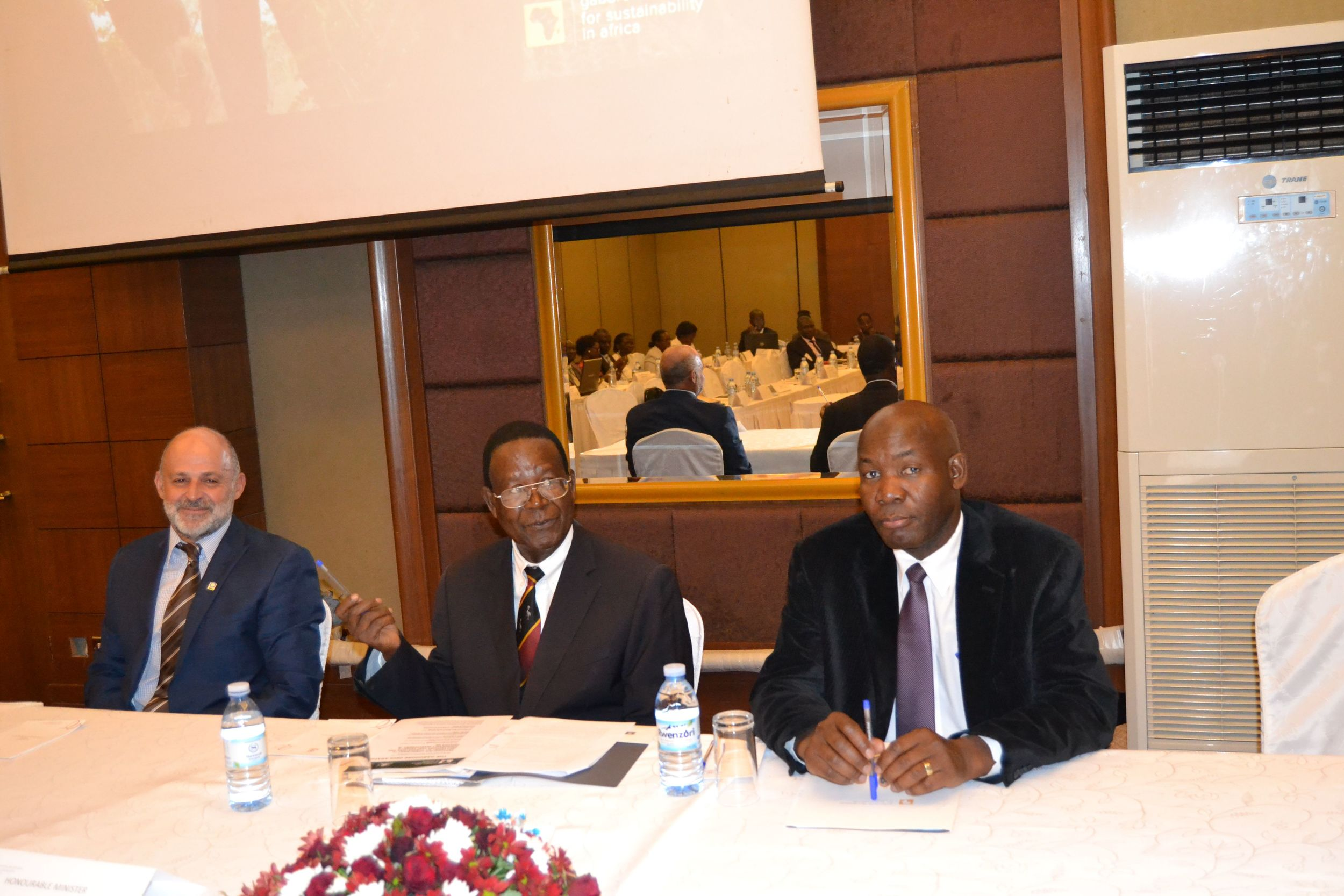 Right, CI Representative Mr Carlos Manuel Rodriguez Centre( Minister of Water and Environment  Hon Pro Ephraim Kamuntu, (left) Government of Botswana Representative Mr. Botshabelo Othusitse