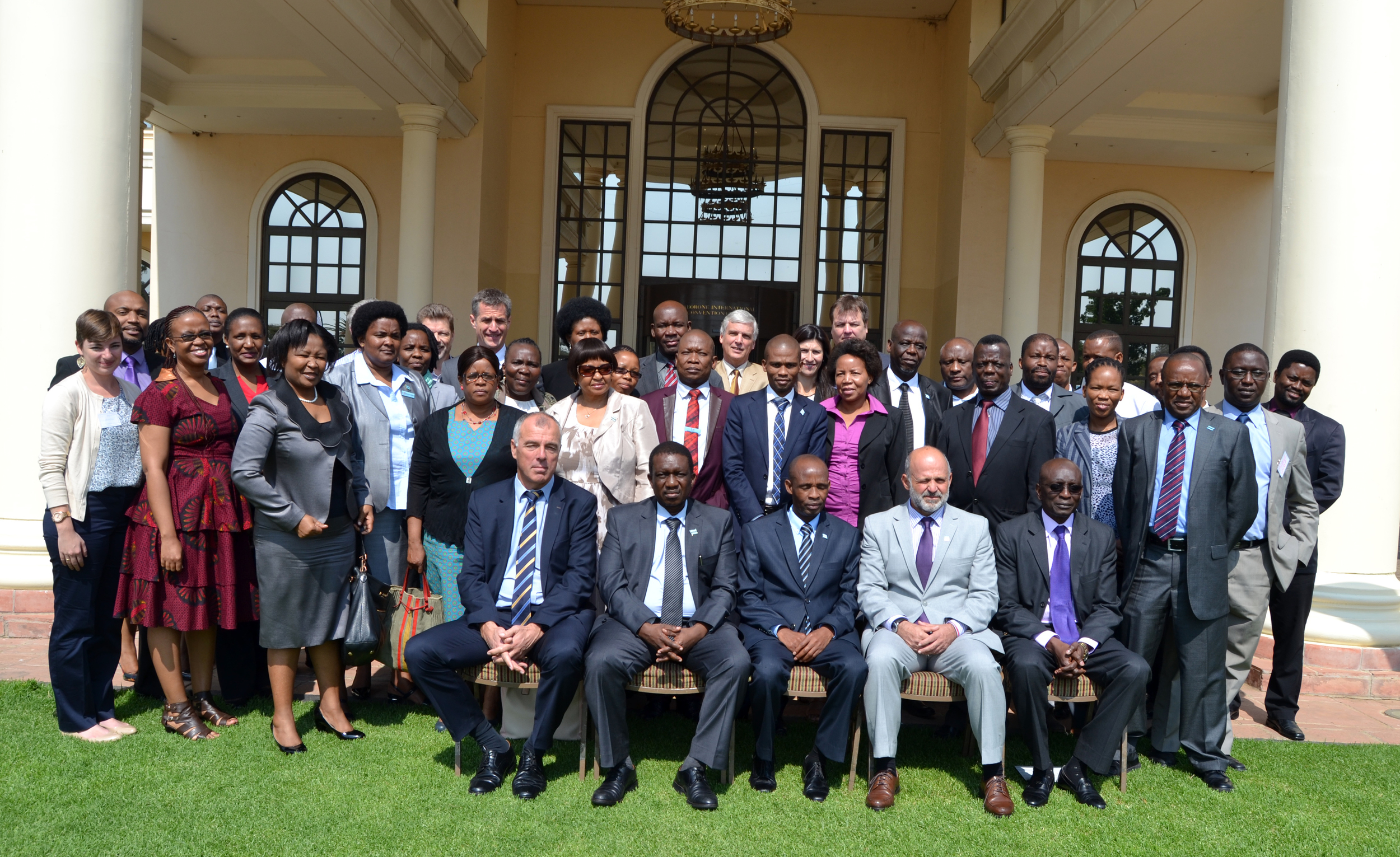 Attendees of the botswana roadshow pose for a portrait during the event held september 17, 2015 at the grand palm hotel in gaborone. blog author kim reuter is in the second row, at the far left. conservation international / photo by tawana babili