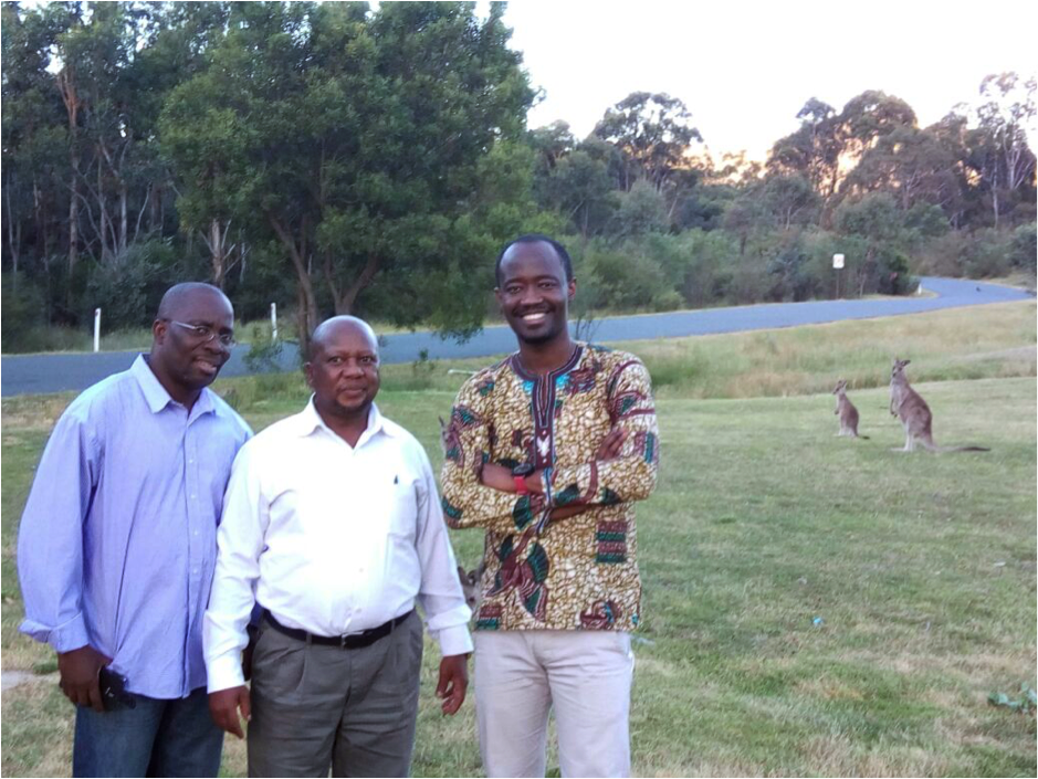 From left to right: Jeremiah Sokan (GDSA Focal Point, Liberia), Disikalala Gaseitsiwe (GDSA Deputy Executive Secretary, Botswana) and Kwame Boakye Fredua (Environmental Protection Agency, Ghana) enjoying the beauty of nature in one of the parks near Canberra, Australia, after successfully completing the course.