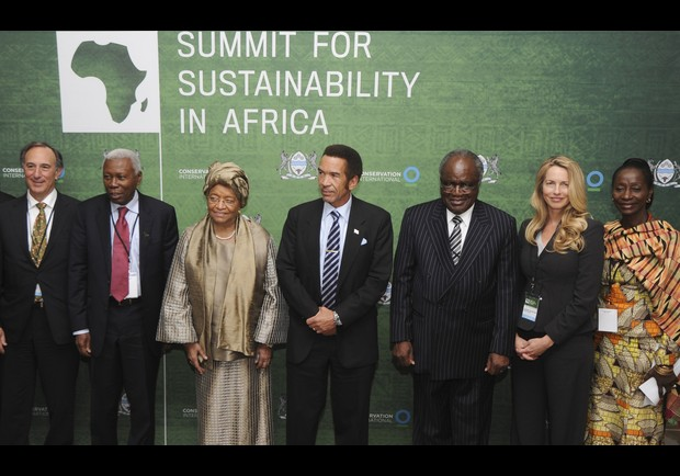 From left to right: Peter Seligmann, chairman of the board (CI); Vice President HE Mohamed Gharib Bilal of Tanzania; President Ellen Johnson Sirleaf of Liberia; President Ian Khama of Botswana; President Hifikepunye Pohamba of Namibia; Laurene Powell-Jobs; and Hon. Sherry Ayittey, Minister of Environment, Science and Technology, Government of Ghana.