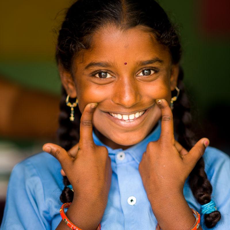 Meisje in een school in India