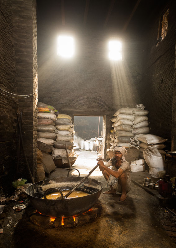 Reisfotografie suikerproductie India