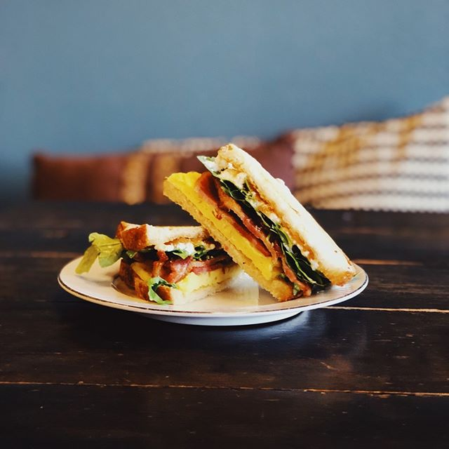 The G.O.A.T. was named, maybe because it is the Greatest Of All Time, but also because it's filled with goat cheese paired with bacon, egg, arugula, mayo, and sweet tangy onion jam. The onion jam is truly a tear-full labor of love and so so worth it.
