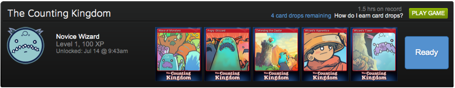 The Counting Kingdom, math game for kids, Steam Trading Cards