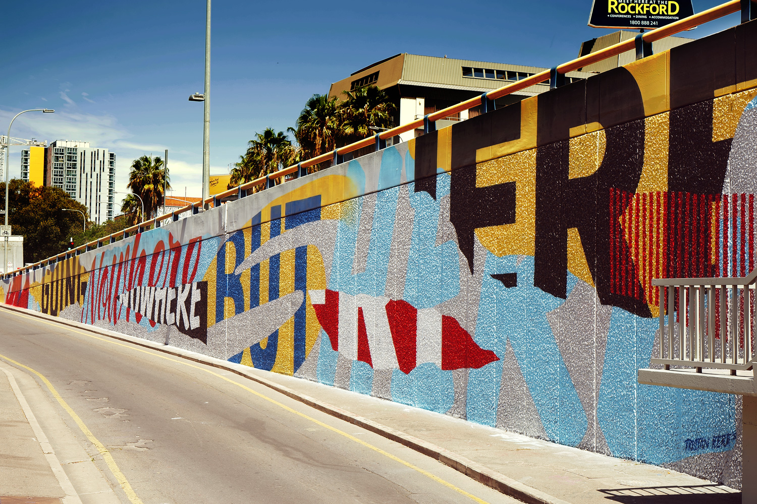 'Going Nowhere But Here' Mural, Adelaide. 70meters, aerosol & acrylic. 2015