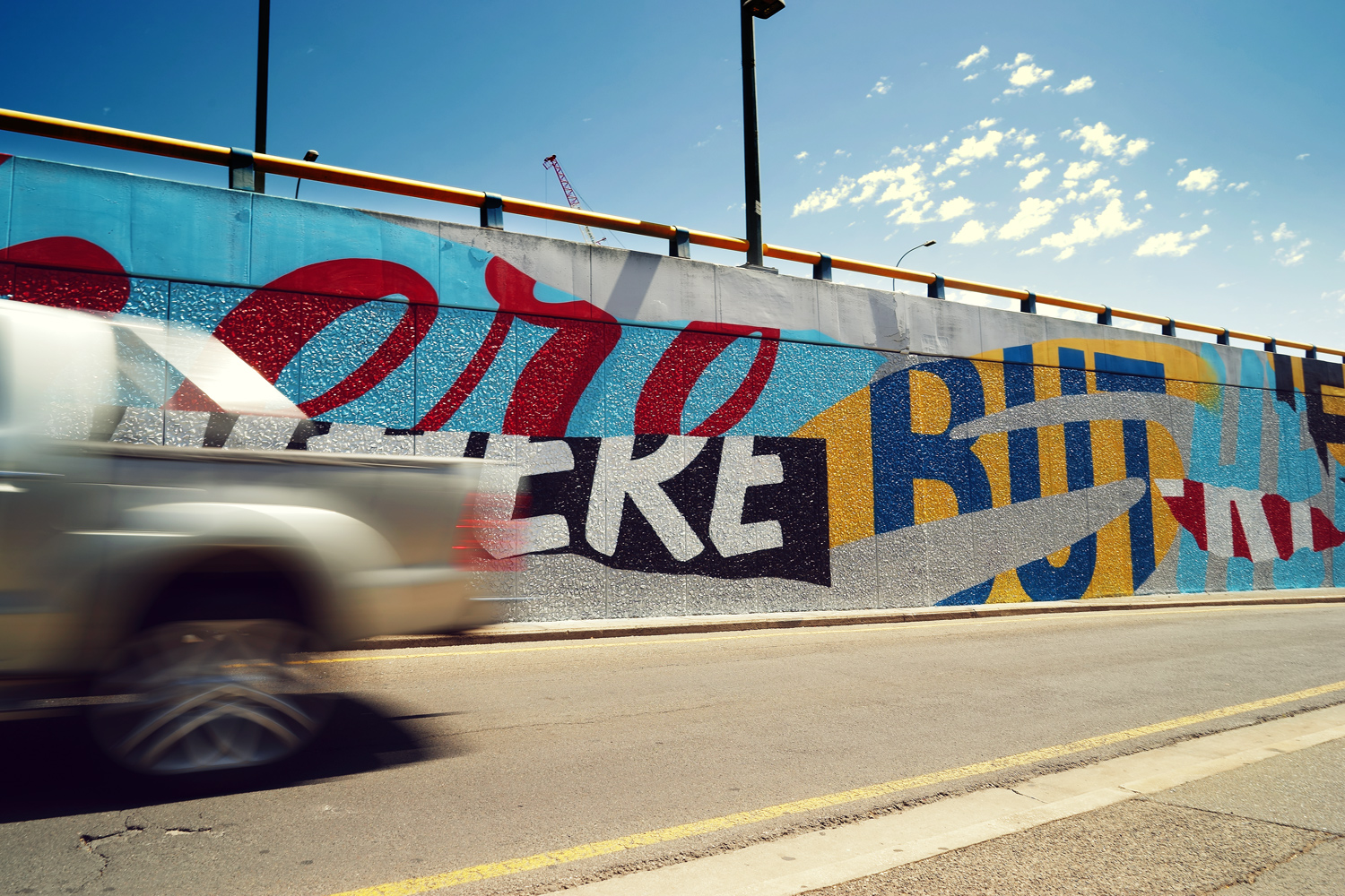'Going Nowhere But Here' Mural. 70meters, Aerosol & Acrylic. Adelaide 2015