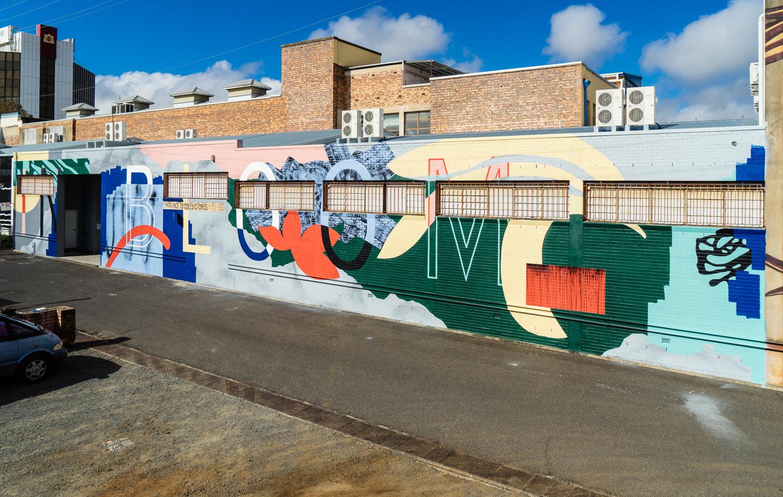 'In Bloom' 2017, 38m x 6 metres, Toowoomba, FirstCoat Mural festival