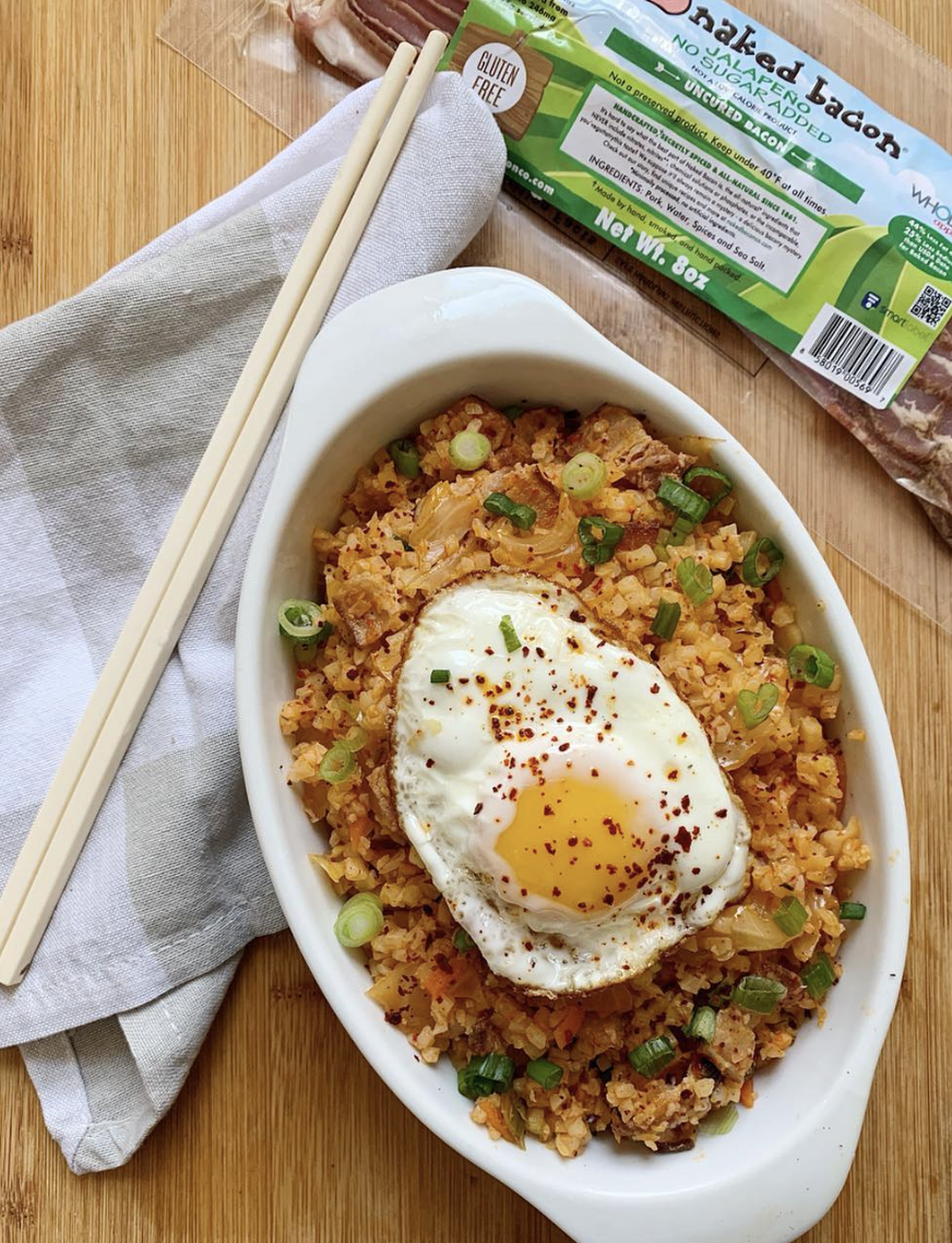 Dolly from  A Dash of Dolly  made Kimchi Cauliflower Fried Rice with Jalapeño Naked Bacon! Get her recipe  here .