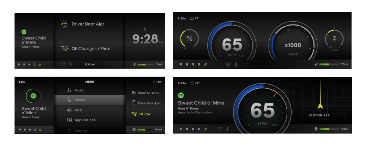 Start-Up display,  digital speedometer, music and routing