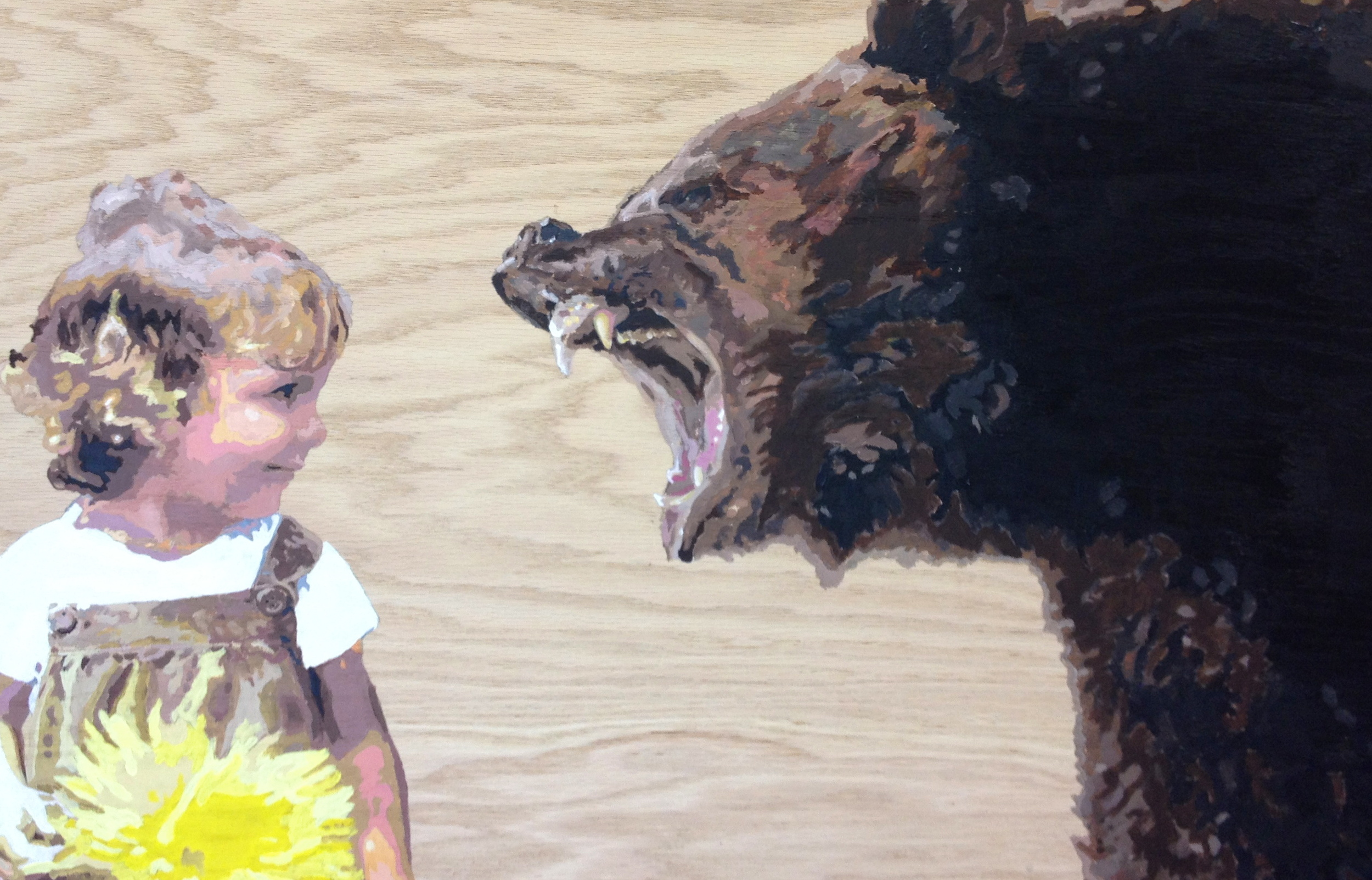 "The Bear and a Bear (44""x25"" - acrylic on cherry - 2014)"