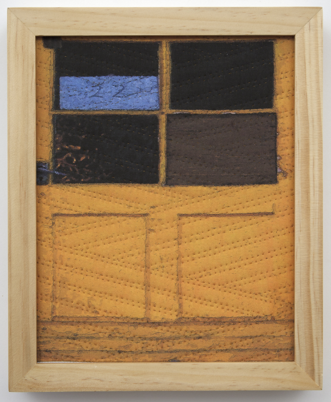 "500-1. study for cornwall windows 1343, 10""x8"", mixed media on silk, hand quilted, framed"