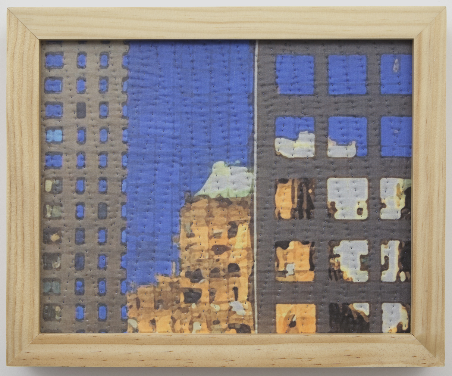 "500-14. study for new york windows 1341, 8""x10"", mixed media on silk, hand quilted, framed"