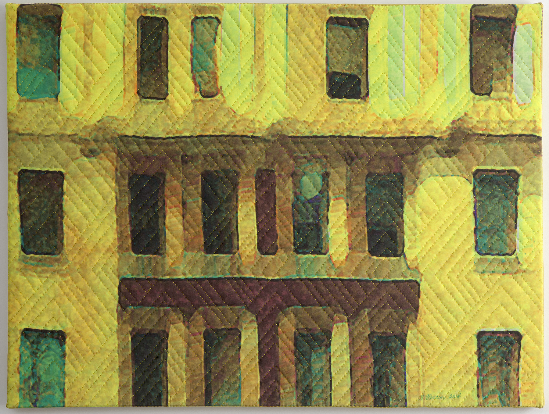 """1250-5, New York Windows 1342, 18""""x24"""", mixed media on silk, hand quilted, gallery-wrapped stretched canvas"""