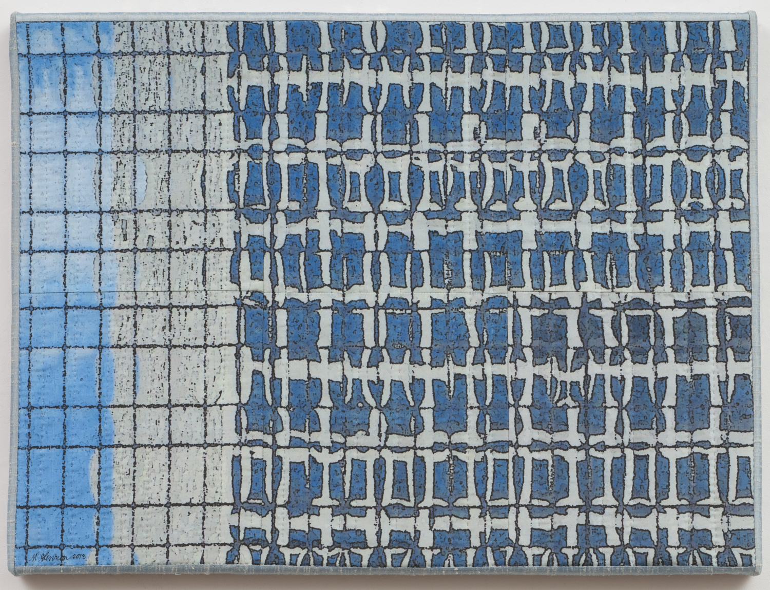 """1250-7, Chicago Windows 1303, 18""""x24"""", mixed media on silk, hand quilted, gallery-wrapped stretched canvas"""