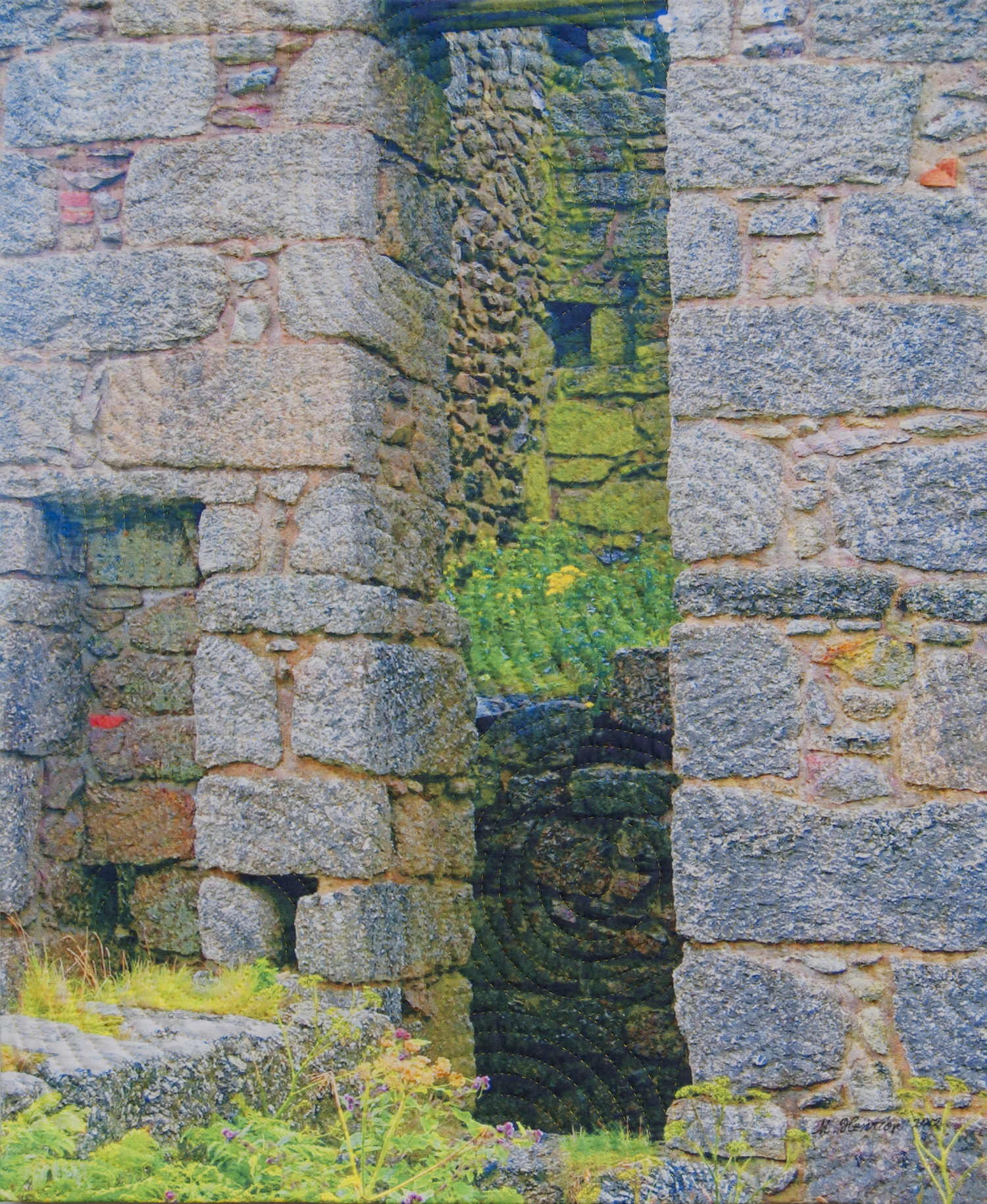 """1250-12. Old Stones 2, 30""""x24"""", mixed media on cotton, hand quilted"""